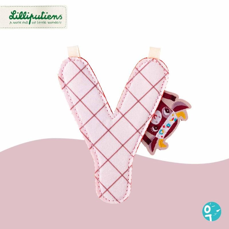 Lettre Y en tissu réversible La Ferme Lilliputiens - Côté rose