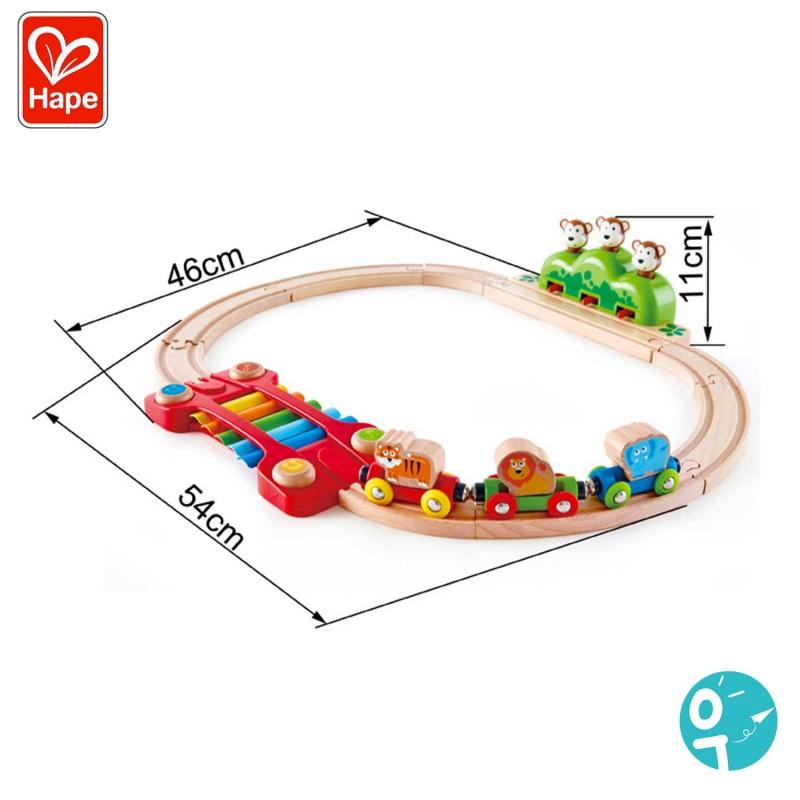 Dimensions du circuit de train en bois musical Hape
