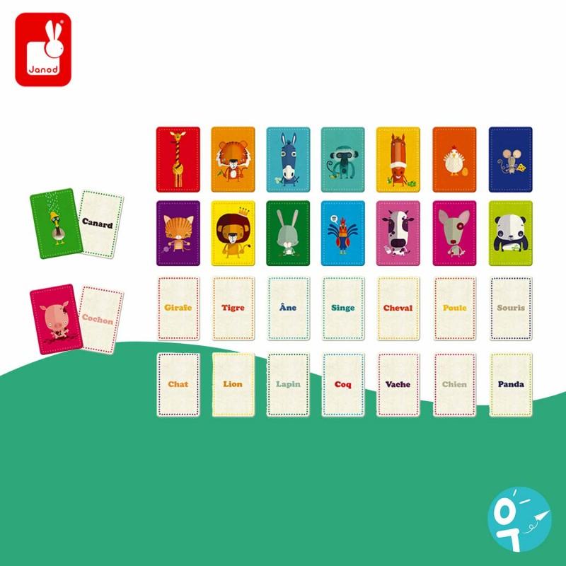 Jeu de mémoire de 32 cartes association de mots avec les animaux