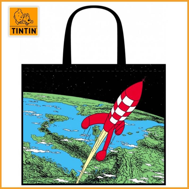 Sac shopping fusée lune Tintin de Moulinsart
