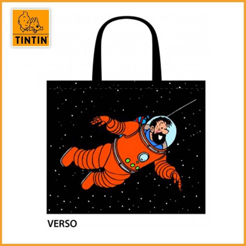 Sac Tintin & Haddock en cosmonautes - Sac shopping lune - Haddock dans l'espace