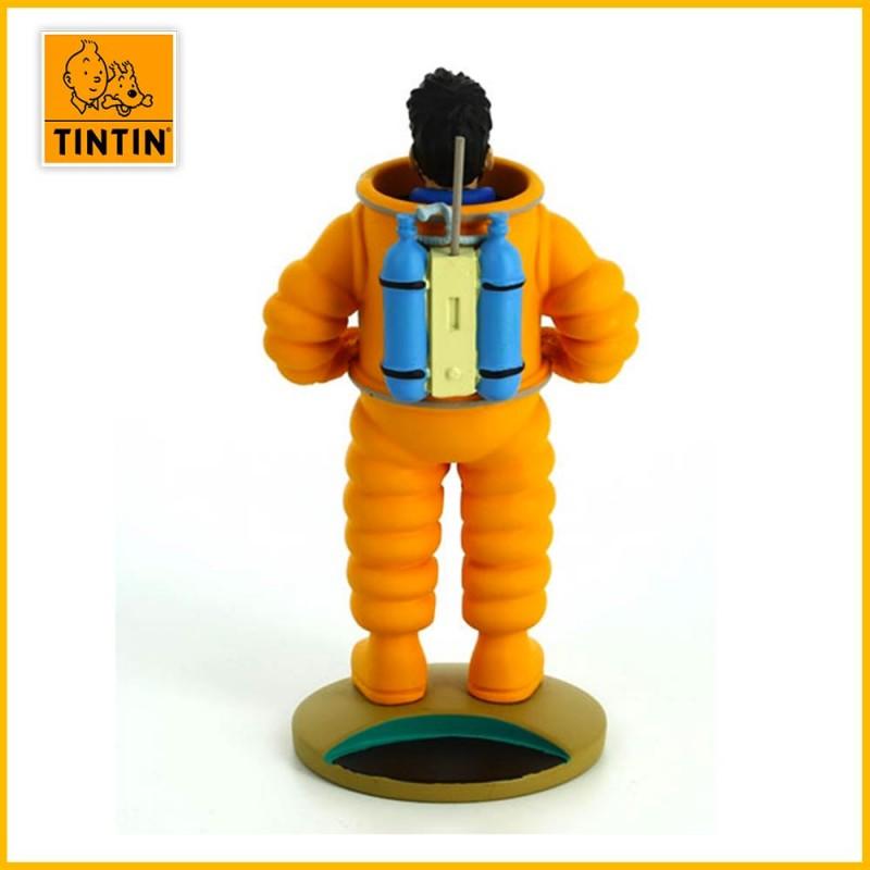 Dos du capitaine haddock en combinaison spatiale orange