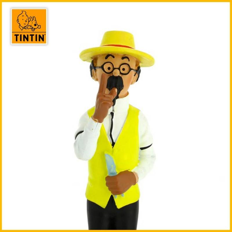 Figurine Professeur Tournesol jardinier avec chapeau jaune