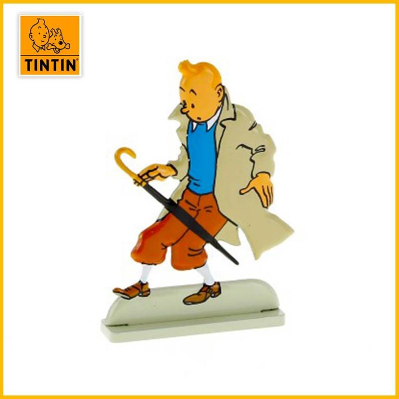 Tintin surpris par un parapluie Figurine plate en métal Moulinsart 29216