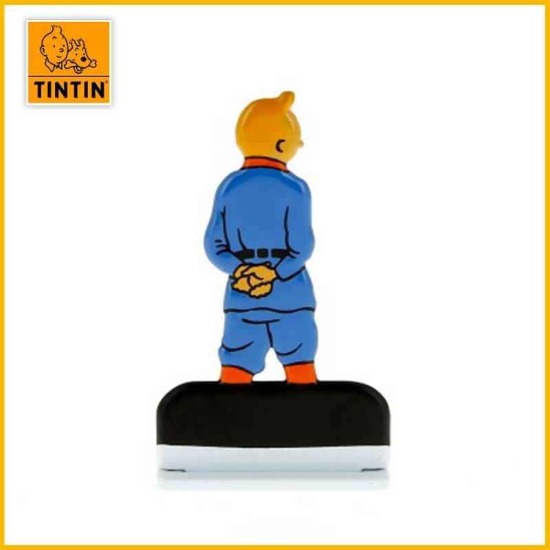 Verso de la figurine relief en métal de Tintin en Soviet