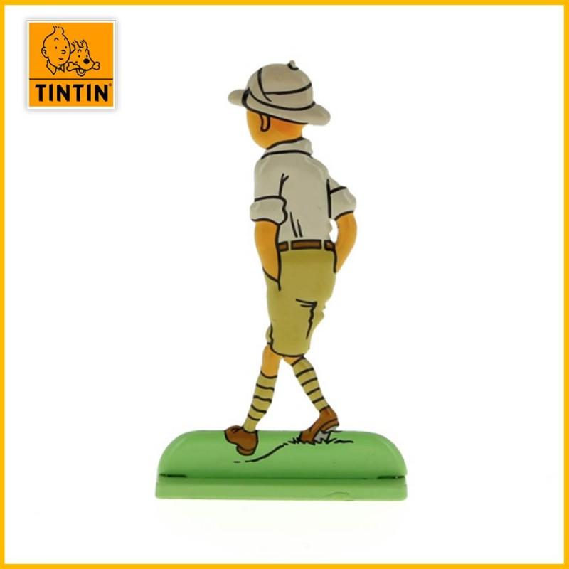Verso de la figurine plate en alliage de Tintin au Congo