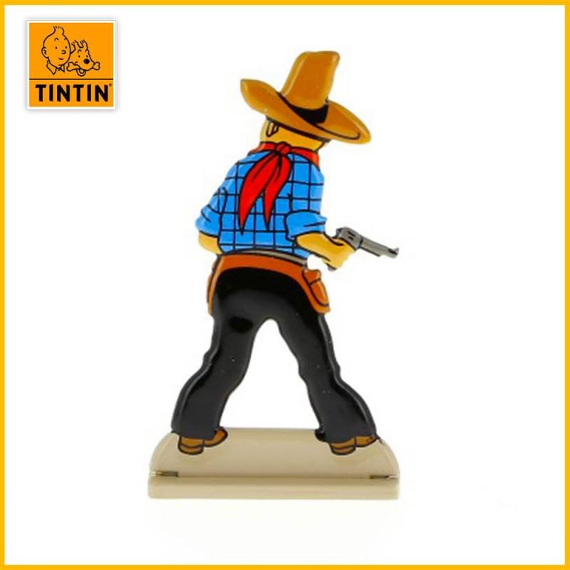 Verso de la figurine en alliage de Tintin en Cow-boy