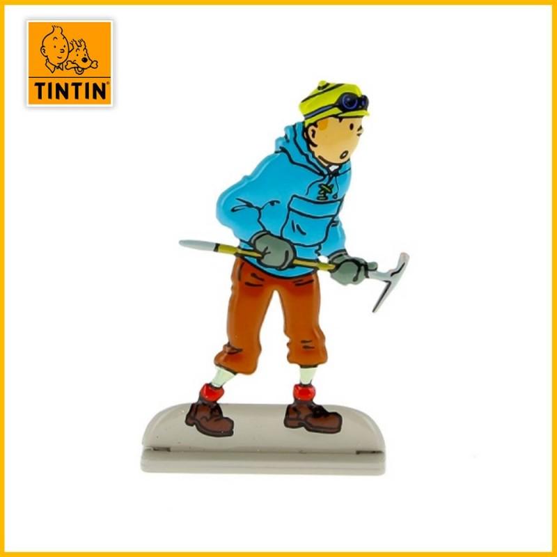 Tintin au Tibet avec pic à glace Figurine plate en métal Moulinsart 29201