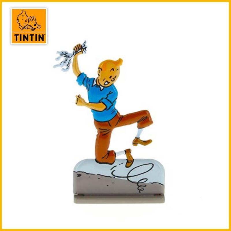 Figurine métal en relief Tintin qui saute de joie