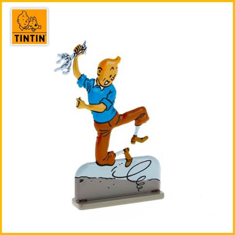 Tintin saute de joie Figurine plate en métal Moulinsart 29211