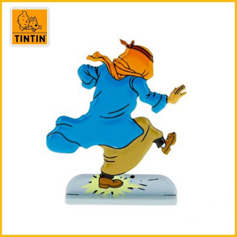 Verso de la figurine en alliage de Tintin sur un pétard.
