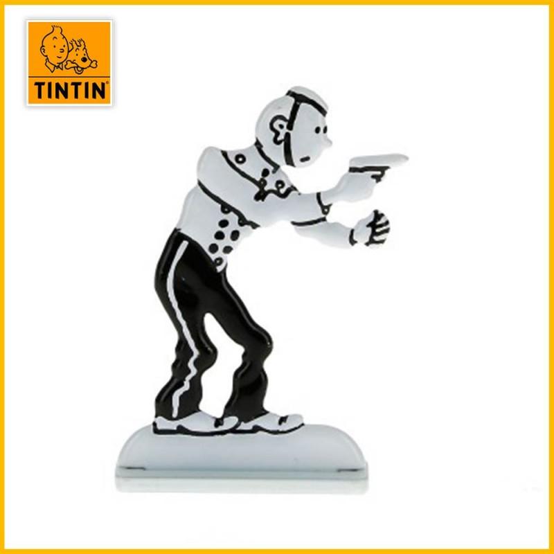 Figurine relief métal de Tintin en Amérique habillé en Groom