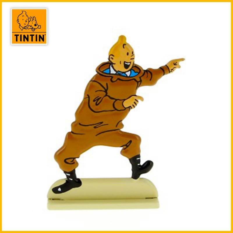 Figurine relief de Tintin excité dans l'album le Trésor de Rackham