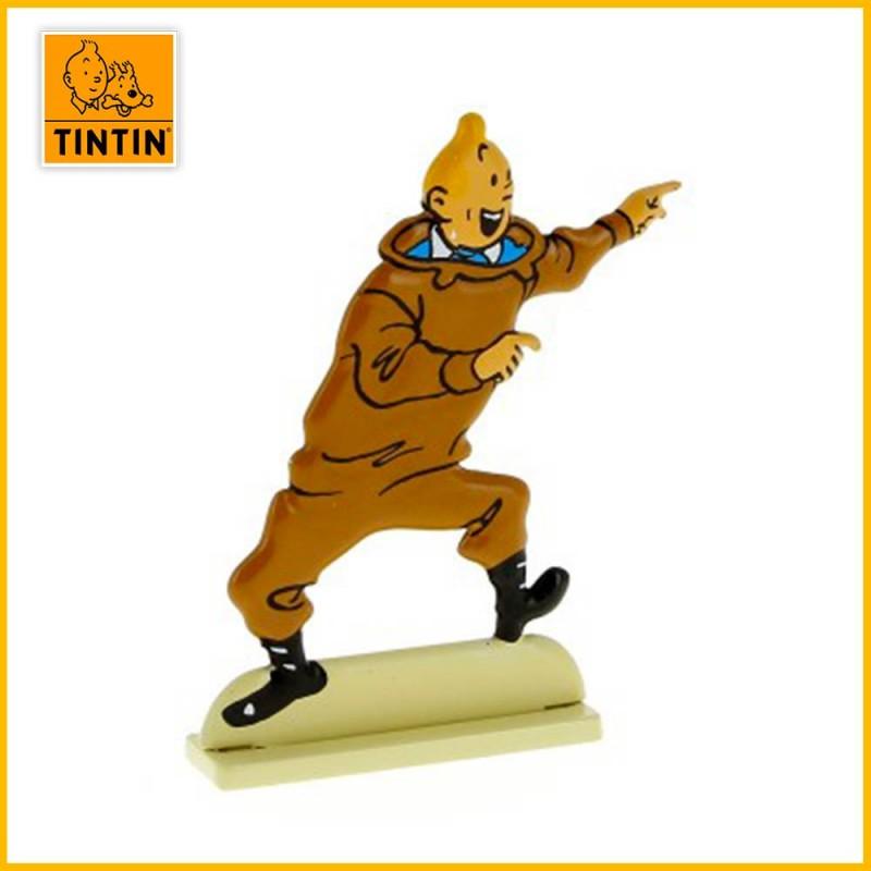 Tintin excité Figurine plate en métal
