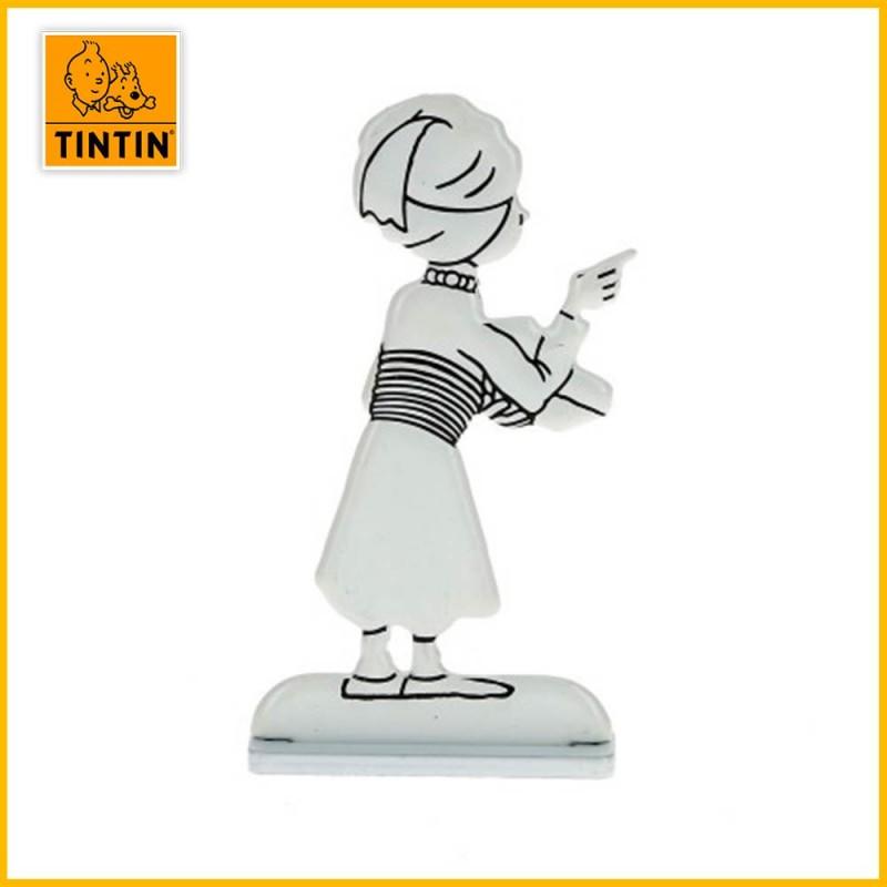 Verso de la figurine en alliage noir & blanc de Tintin en Turban