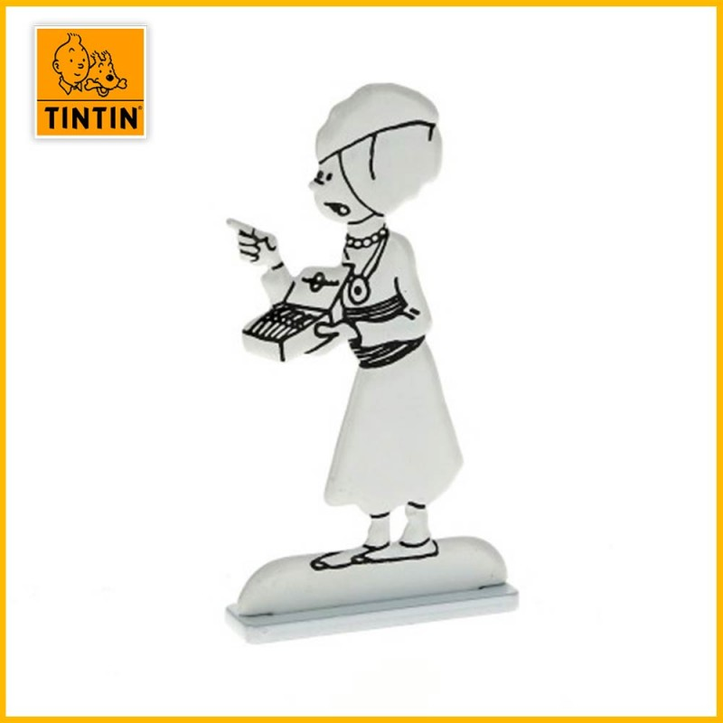 Tintin au turban Figurine plate en métal