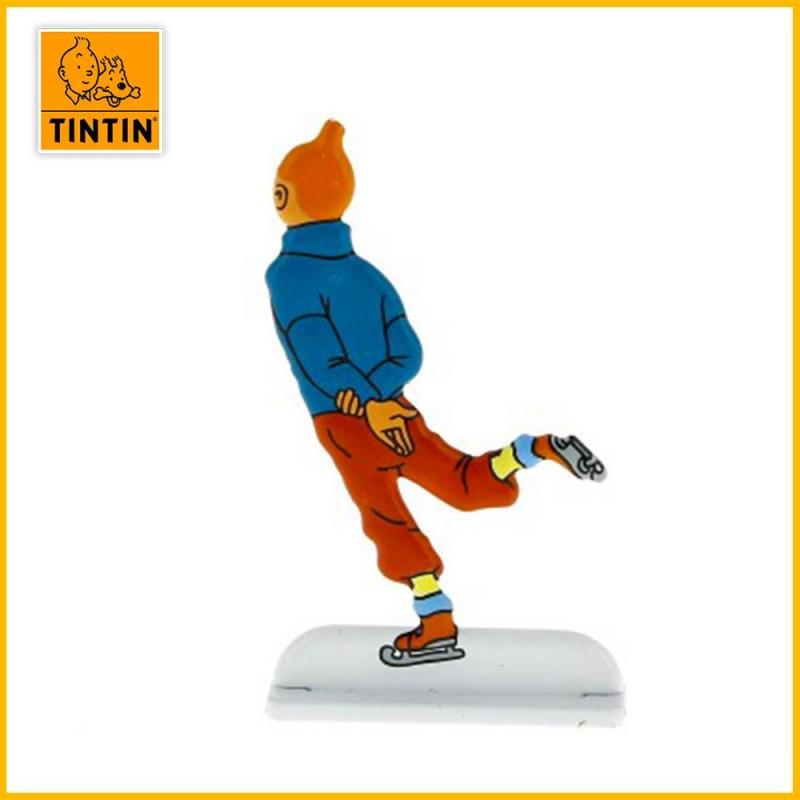Verso de la figurine de Tintin sur des patins à glace