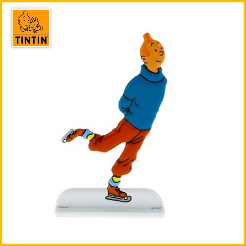 Figurine relief Tintin qui patine sur la glace Moulinsart 29232
