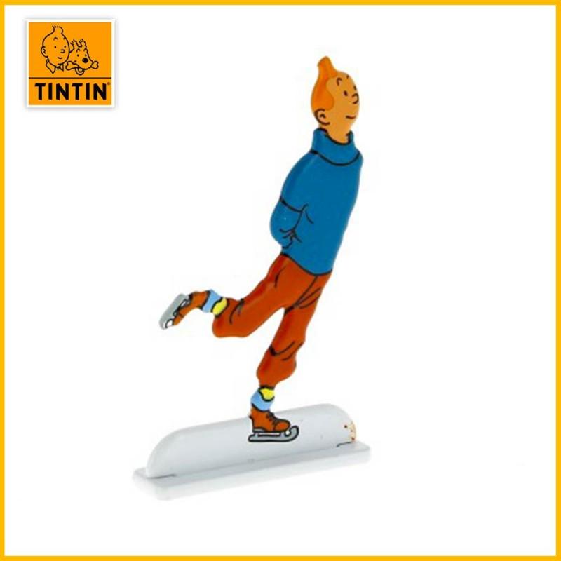 Tintin fait du patinage sur glace Figurine plate en métal