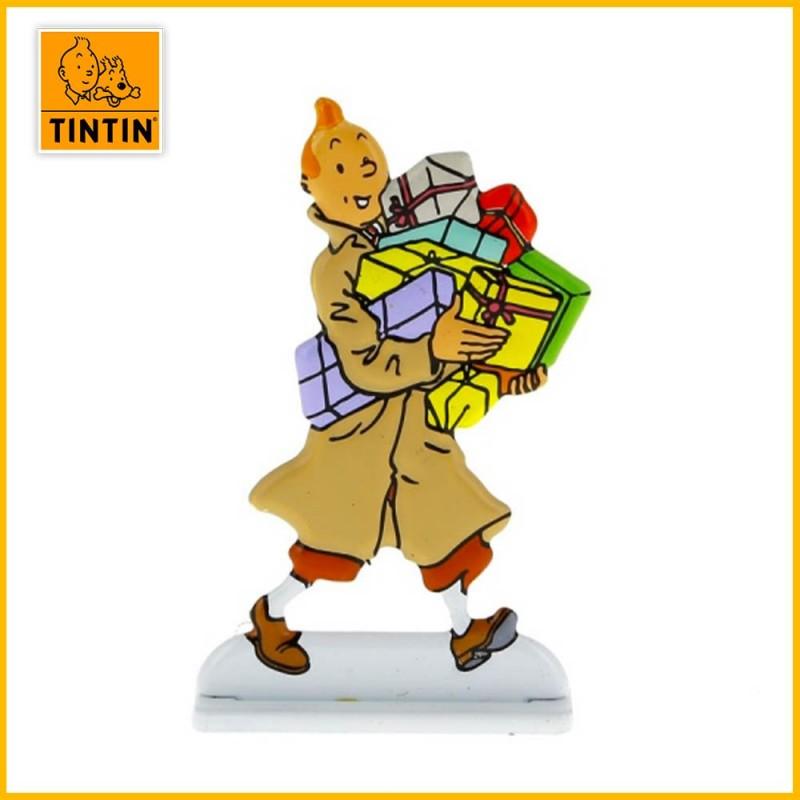 Figurine métal en relief de Tintin avec des cadeaux