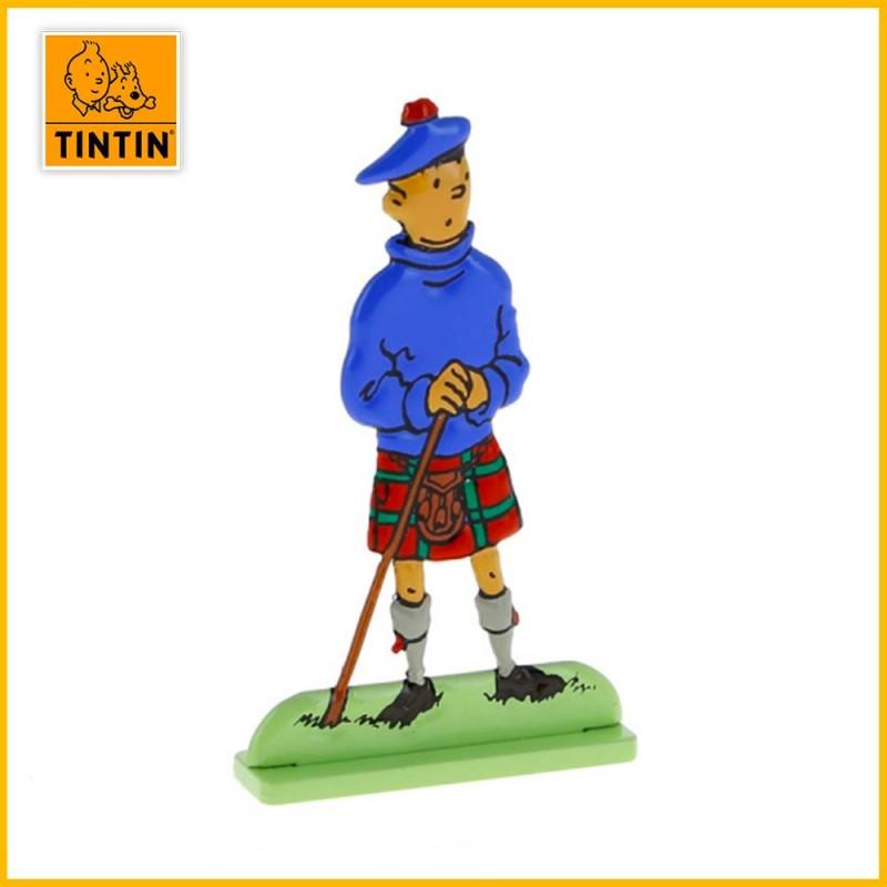 Tintin en kilt écossais Figurine plate en métal  Moulinsart 29203