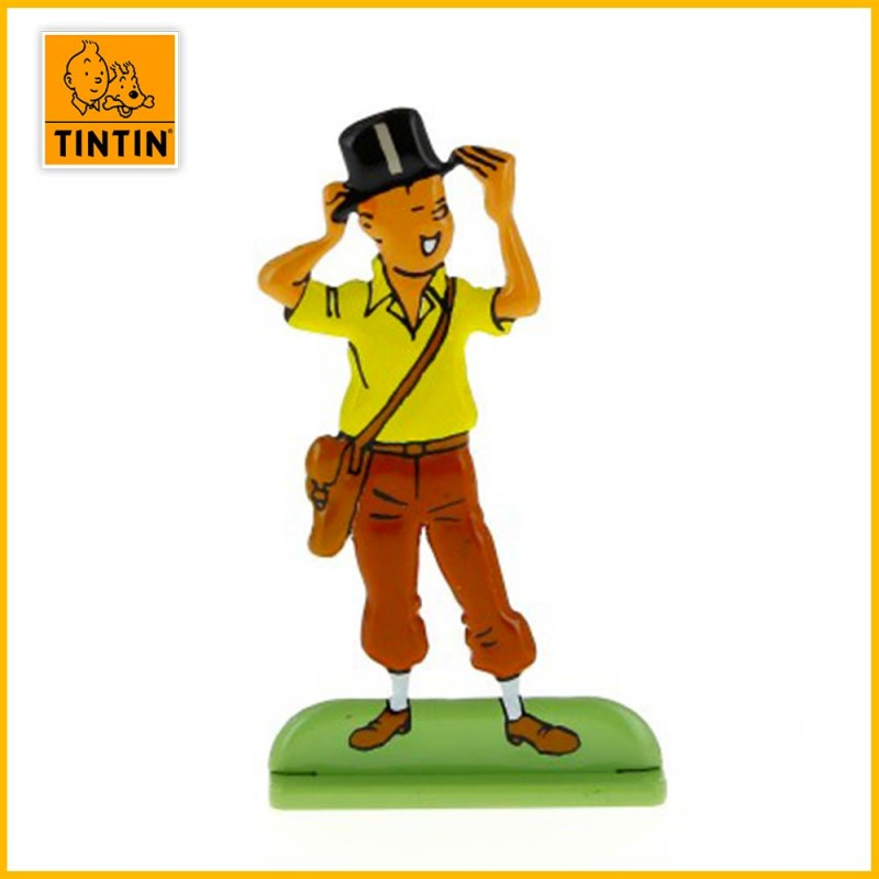 Figurine collection relief Tintin chapeau