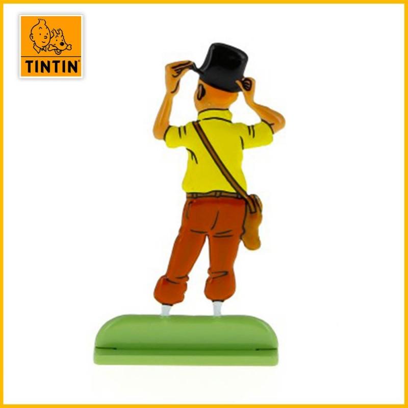 Figurine Tintin de dos avec chapeau de professeur Siclone