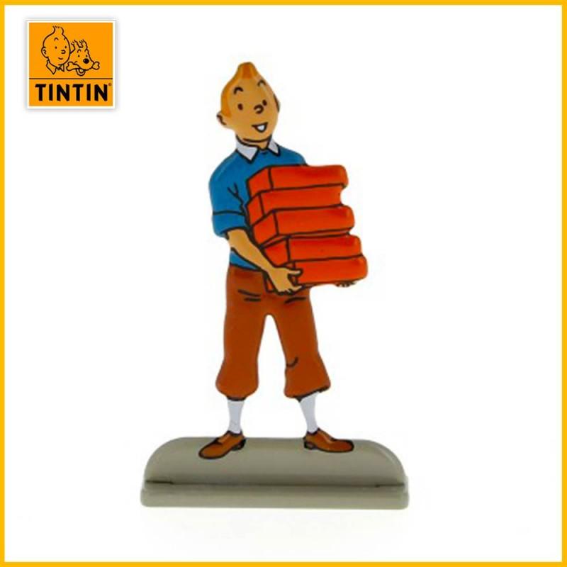 Figurine 3D Tintin avec des briques rouges