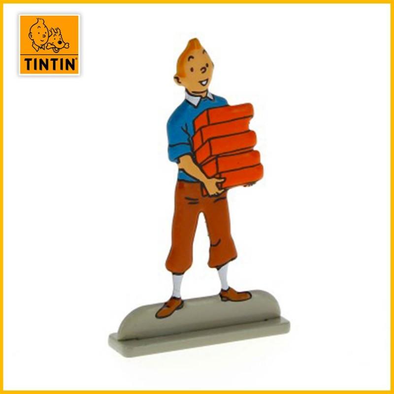 Figurine relief métal Tintin tenant des briques 29230