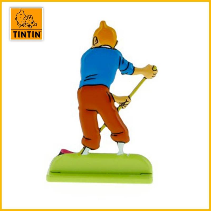 Figurine relief métal Tintin au balais de dos