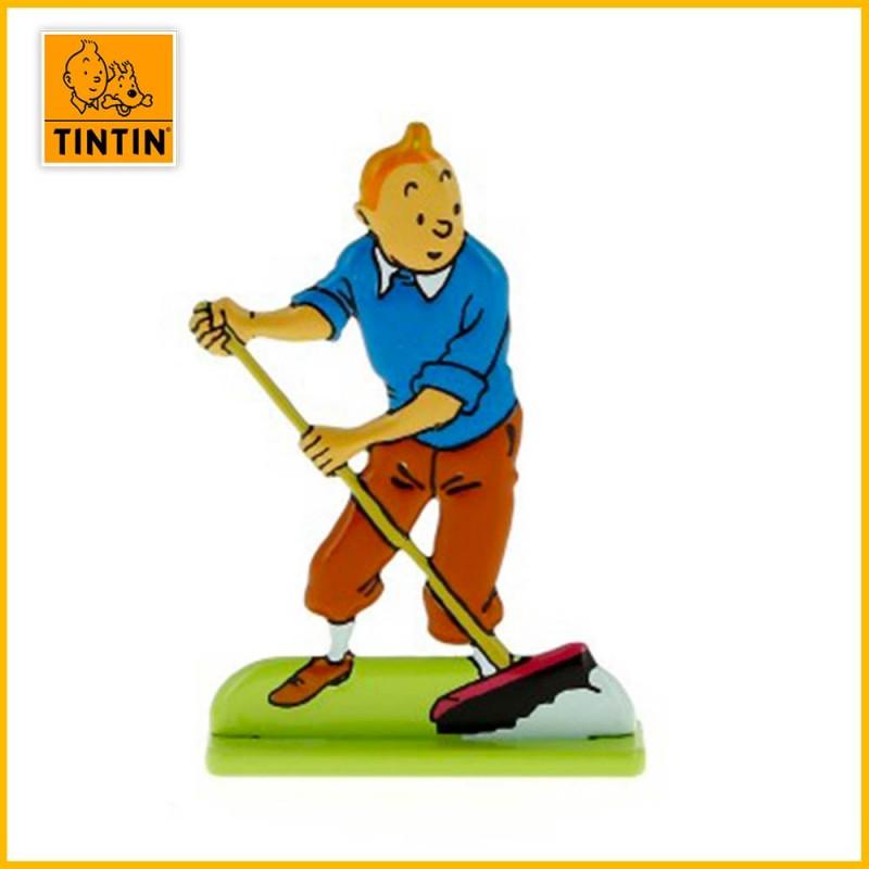 Figurine Plat d'étain Tintin balais