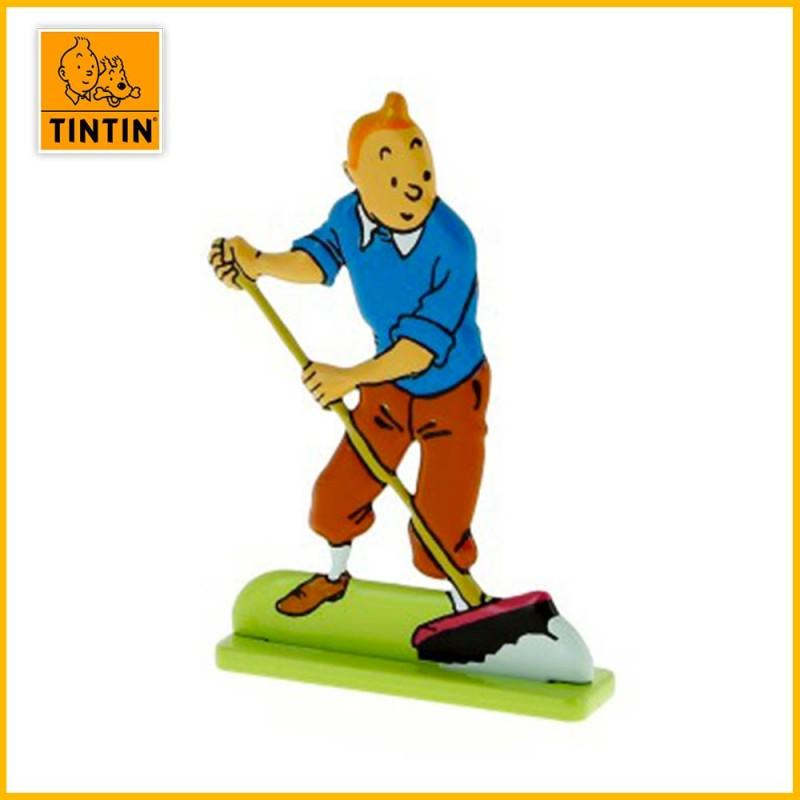 Figurine relief métal Tintin au balais 29227