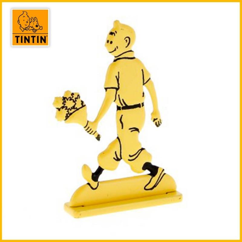 Figurine plate métal Tintin tenant des fleurs Moulinsart 29226