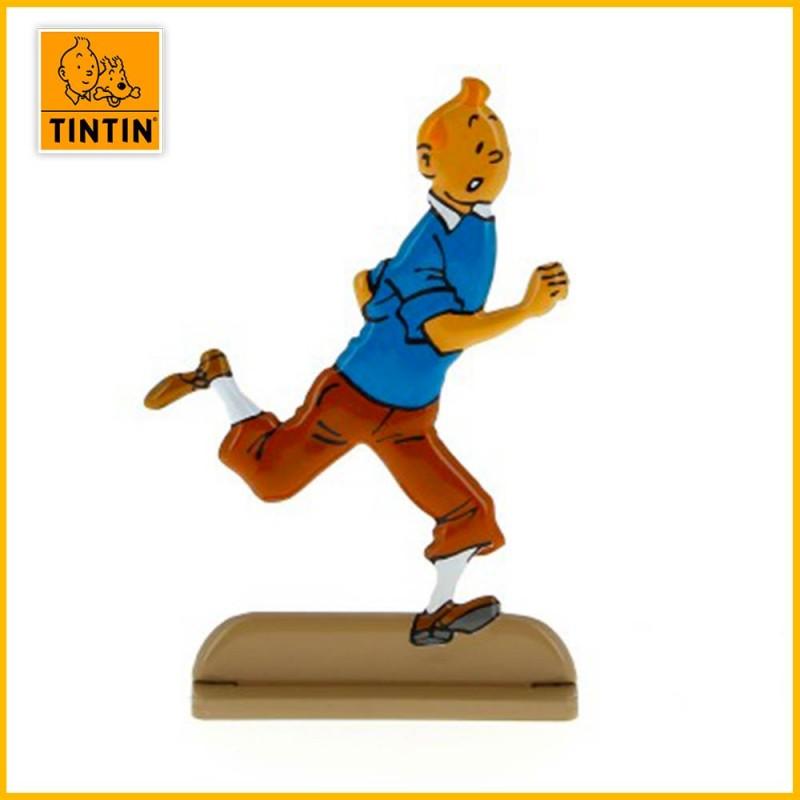 Tintin court avec joie Figurine relief métal  Moulinsart 29218