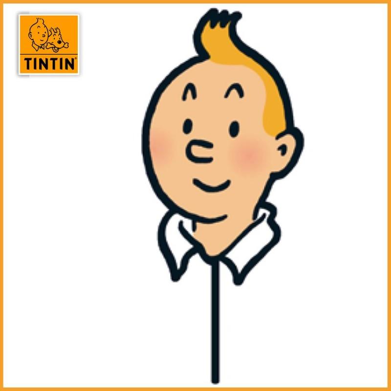 Masque de Tintin en carton avec bâton en plastique - Moulinsart