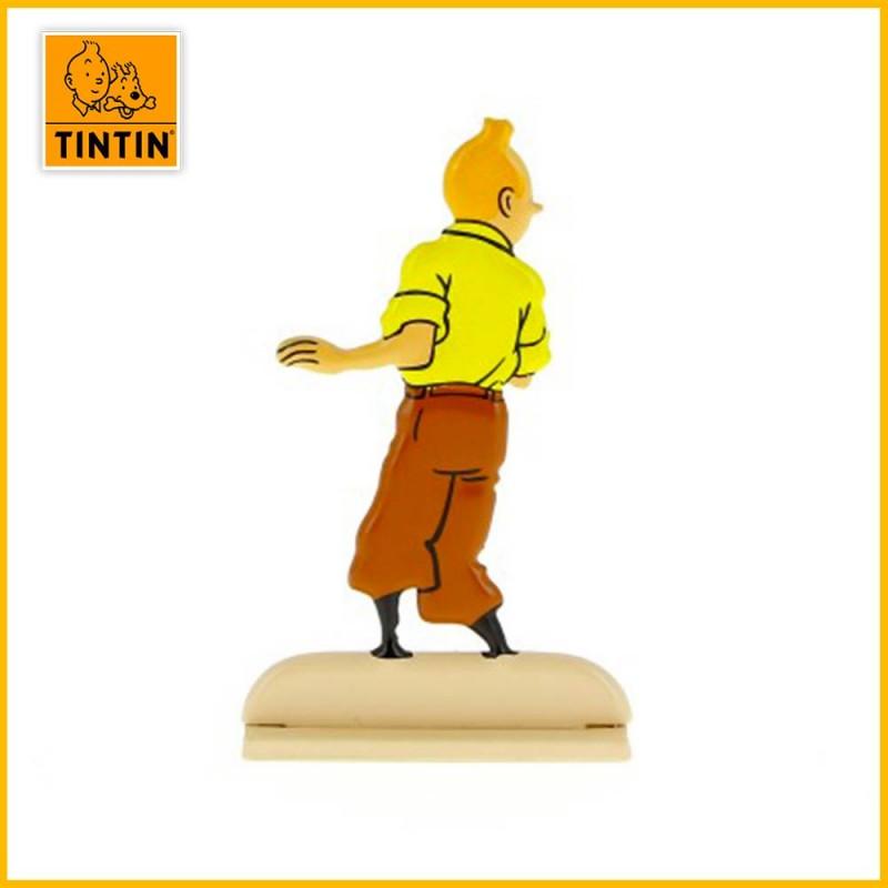 Verso de la figurine en alliage de Tintin dans l'album le Secret de La Licorne