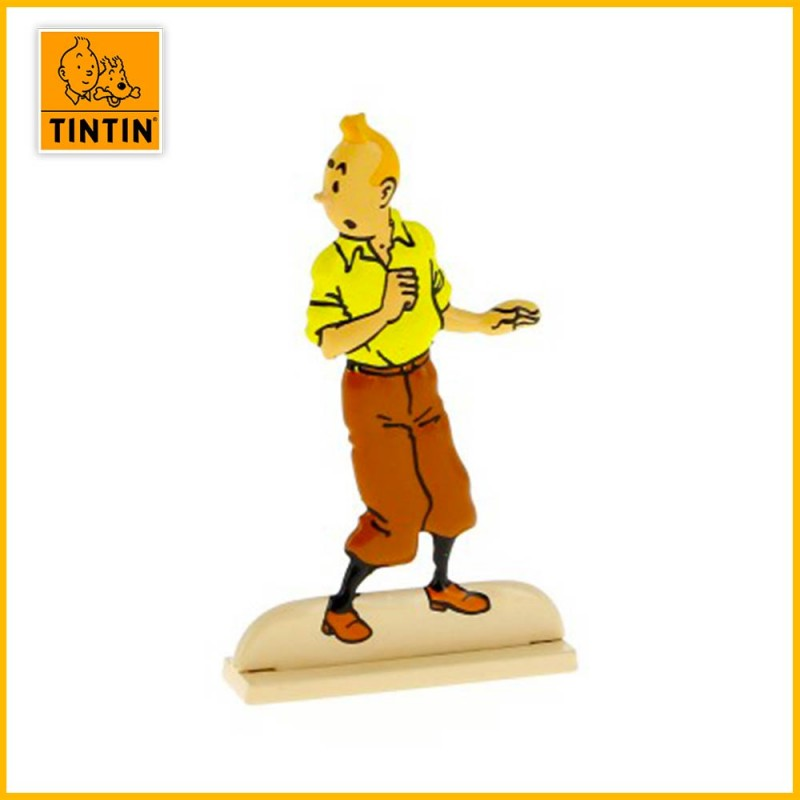 Tintin se retournant Figurine plate en métal Moulinsart 29204
