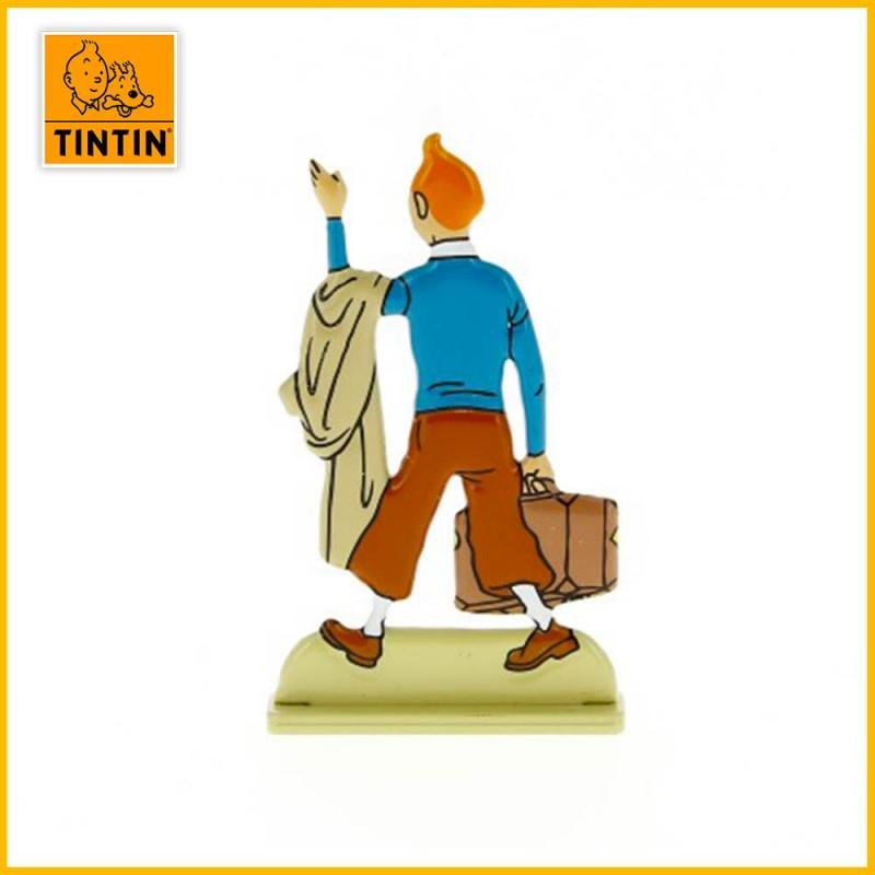 Verso de la figurine en alliage et relief Tintin valise