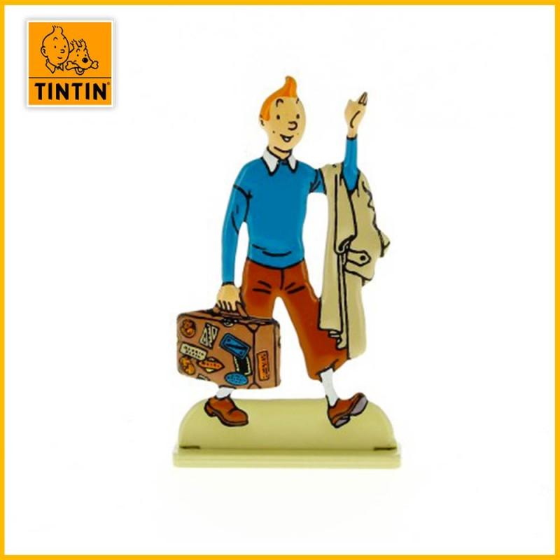 Tintin est avec une valise. Il repart pour une nouvelle aventure !