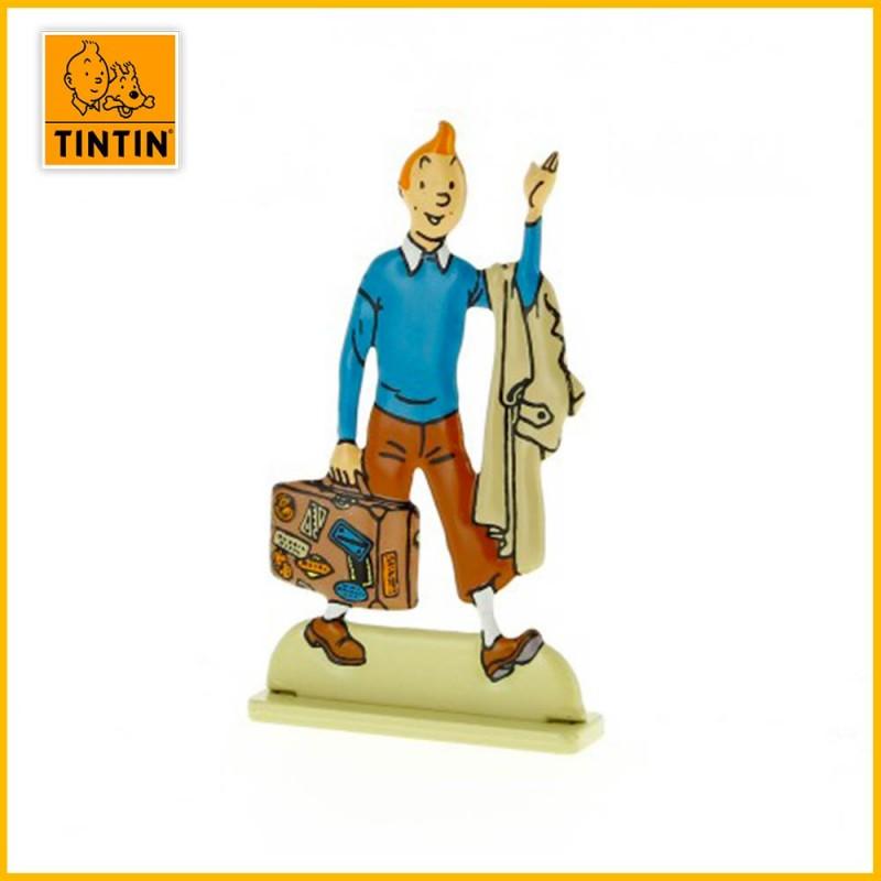 Tintin à la valise Figurine plate en métal Moulinsart 29224