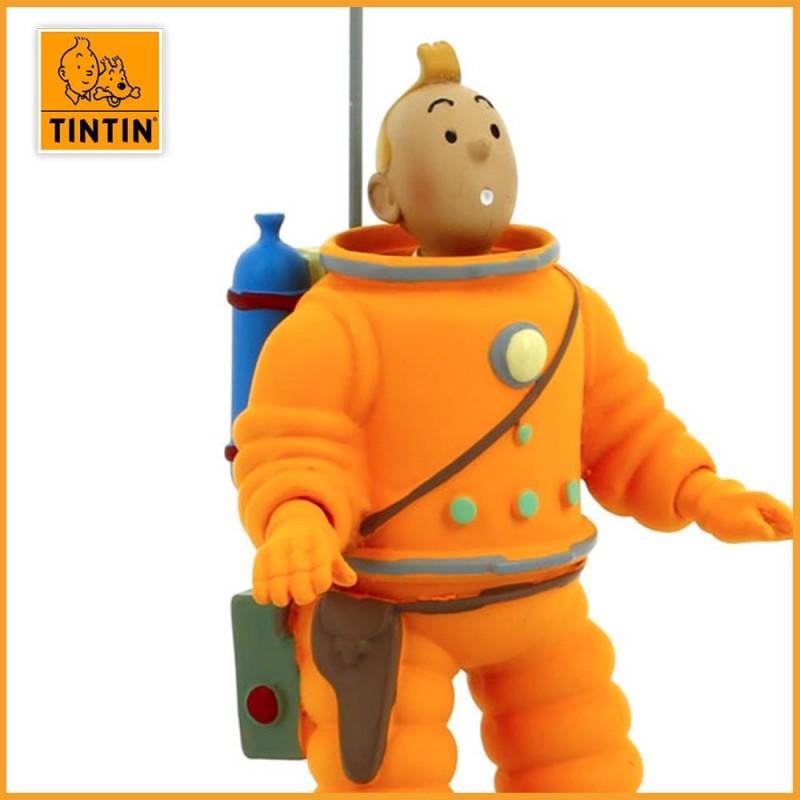 Figurine de Tintin en Cosmonaute - Figurine Tintin résine de 15 cm - zoom visage