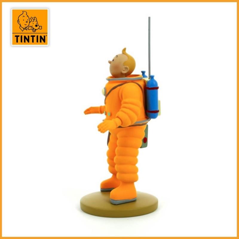 Figurine de Tintin en Cosmonaute - Figurine Tintin résine de 15 cm - vue de côté