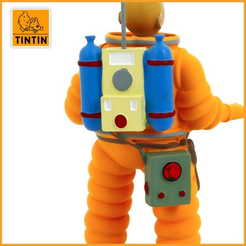 Figurine de Tintin en Cosmonaute - Figurine Tintin résine de 15 cm - Zoom dos Tintin
