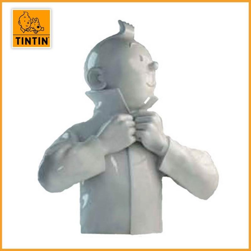 Tintin ferme son col brillant - Sculpture Buste Tintin porcelaine blanc