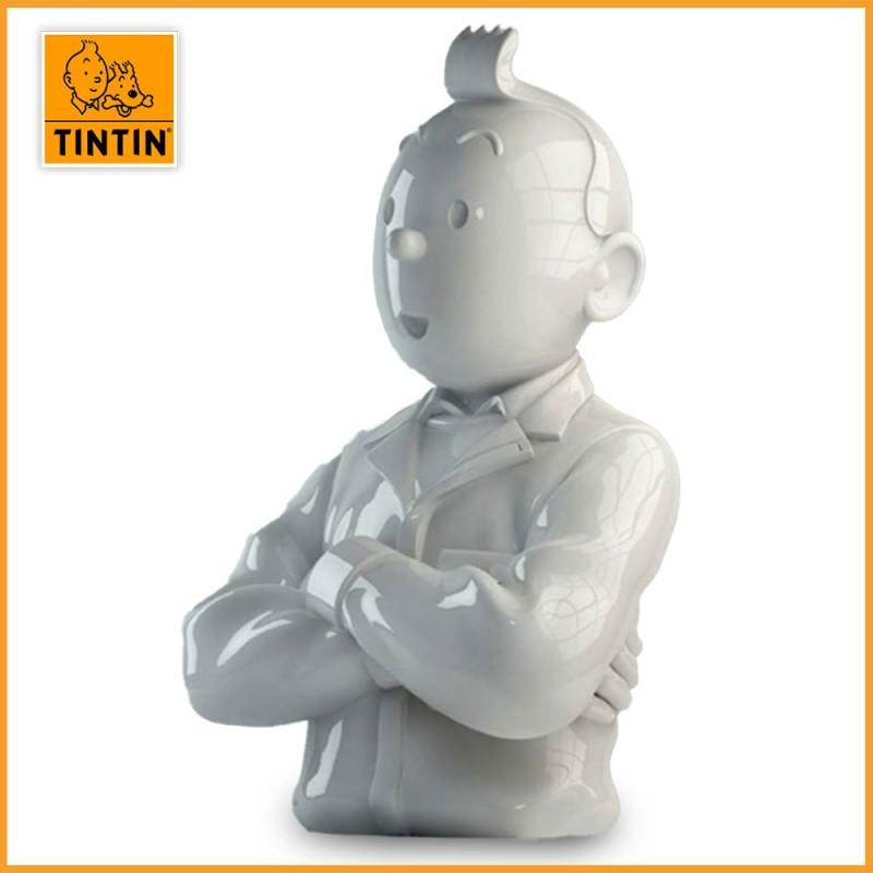 Tintin bras croisés brillant - Sculpture buste Tintin porcelaine