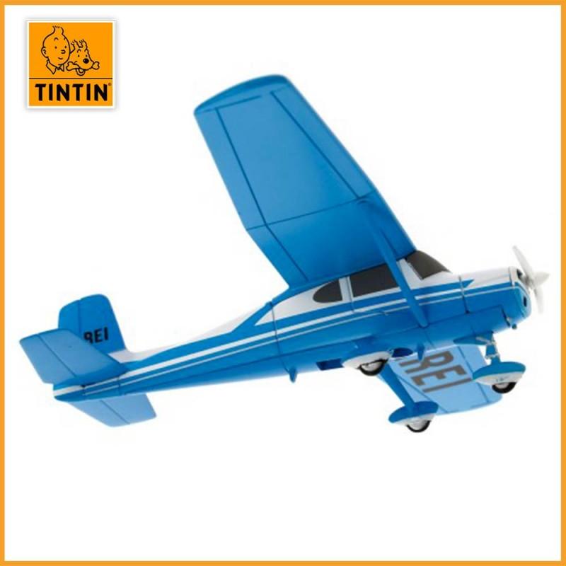L'avion bleu de Müller - L'île Noire - Figurine avion Tintin - vue avion ailes