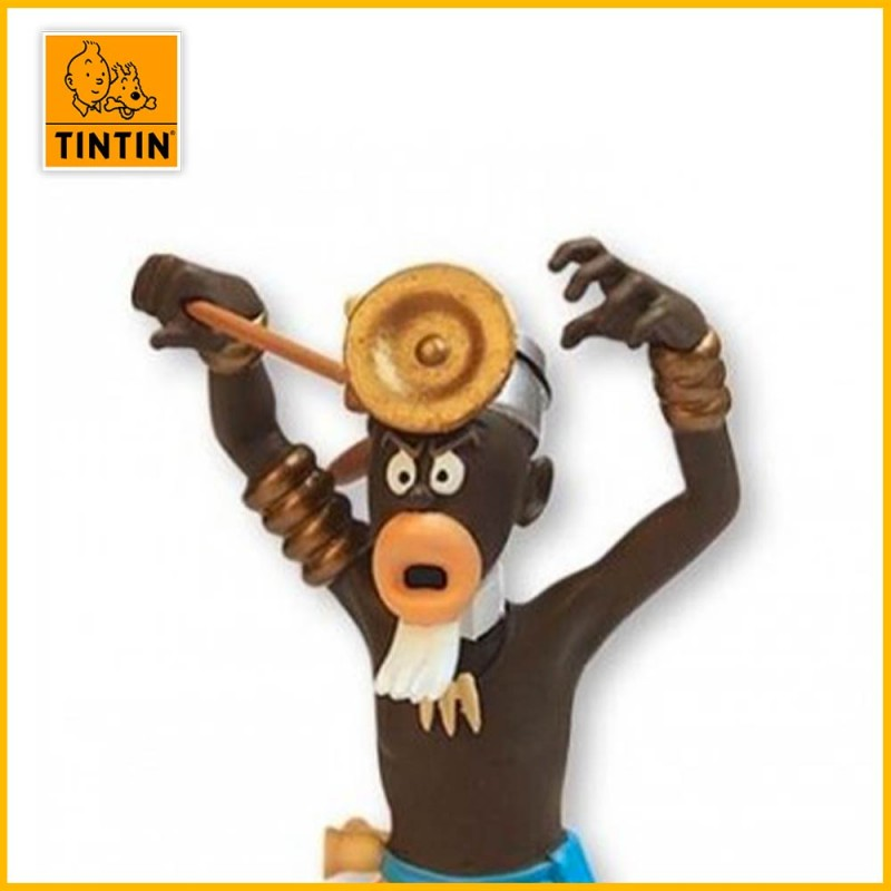 Tête du sorcier avec casserole sur la tête Tintin au Congo