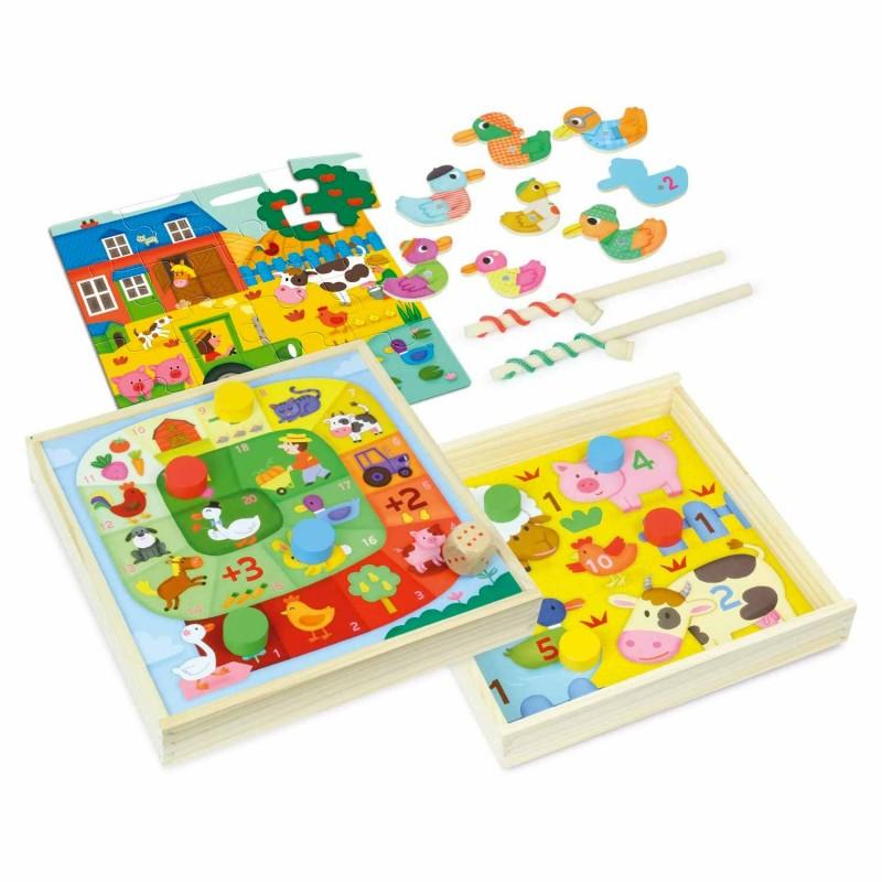 4 jeux de société en bois pour les enfants