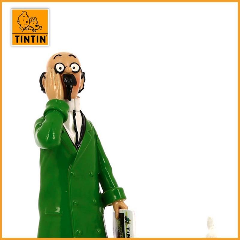 """Le Professeur Tournesol lit Tintin - Collection """"Lisez Tintin"""" - Figurine en Plomb Moulinsart 46304 - Tournesol zoom visage"""