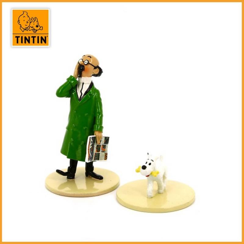 """Le Professeur Tournesol lit Tintin - Collection """"Lisez Tintin"""" - Figurine en Plomb Moulinsart 46304"""